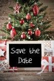 Albero di Natale nostalgico, risparmi inglesi del testo la data Fotografia Stock Libera da Diritti