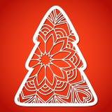 Albero di Natale Openwork Modello di taglio del laser Fotografie Stock Libere da Diritti