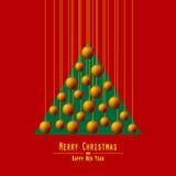 Albero di Natale Palle passanti Arancio Fotografie Stock Libere da Diritti
