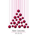 Albero di Natale Palle passanti Rosso Fotografia Stock Libera da Diritti