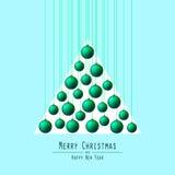 Albero di Natale Palle passanti Verde Fotografie Stock Libere da Diritti