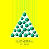 Albero di Natale Palle passanti Verde Fotografia Stock Libera da Diritti