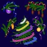 Albero di Natale, rami attillati Elementi per le cartoline di Natale di progettazione Fotografia Stock Libera da Diritti