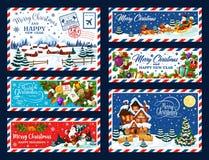 Albero di Natale, regali e Santa Cartolina di natale illustrazione vettoriale