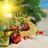 Albero di Natale reindear e dei giocattoli, di Natale Fotografie Stock Libere da Diritti
