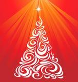 Albero di Natale rosso bianco Fotografia Stock Libera da Diritti