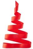 Albero di Natale rosso del nastro Immagine Stock