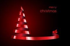 Albero di Natale rosso del nastro Fotografia Stock