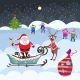 Albero di Natale, Santa Claus e bambini Fotografie Stock