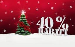 Albero di Natale sconto di Rabatt di 40 per cento Immagini Stock Libere da Diritti