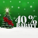 Albero di Natale sconto di Rabatt di 40 per cento Immagine Stock