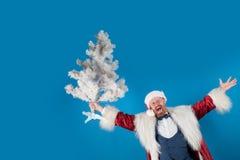 Albero di Natale Smorfia comico Espressioni facciali umane positive di emozioni euphoria Santa Claus desidera il Buon Natale immagine stock