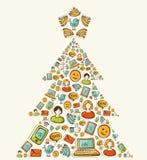 Albero di Natale sociale delle reti di media Fotografie Stock Libere da Diritti