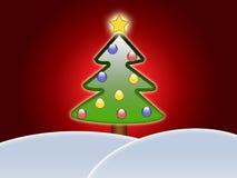 Albero di Natale sopra le colline Fotografia Stock