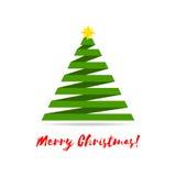 Albero di Natale stilizzato del nastro con la stella gialla ed i saluti Illustrazione di vettore Immagini Stock