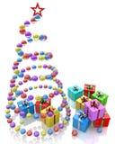 Albero di Natale stilizzato delle palle con la stella ed i regali rossi Immagini Stock