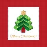 Albero di Natale stilizzato di vettore dai nastri punteggiati Fotografia Stock Libera da Diritti
