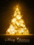 Albero di Natale stilizzato dorato illustrazione di stock