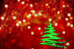 Albero di Natale stilizzato su priorità bassa rossa illustrazione di stock