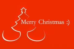 Albero di Natale stilizzato su priorità bassa rossa illustrazione vettoriale