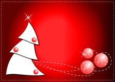 Albero di Natale su colore rosso Fotografia Stock