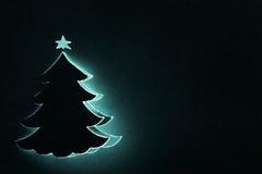 Albero di Natale su documento nero Fotografia Stock