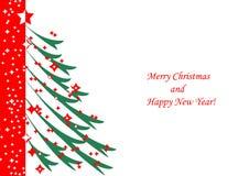 Albero di Natale su fondo bianco Illustrazione Vettoriale