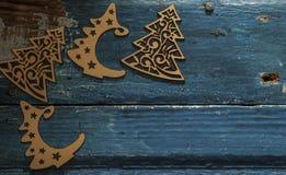 Albero di Natale su fondo di legno Fotografie Stock