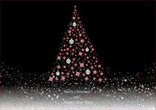 Albero di Natale su fondo nero Immagine Stock
