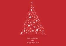 Albero di Natale su fondo rosso-cupo Illustrazione Vettoriale