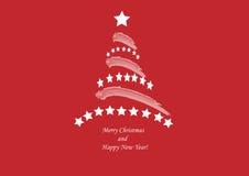 Albero di Natale su fondo rosso-cupo Fotografia Stock Libera da Diritti