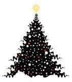 Albero di Natale su neve Fotografia Stock