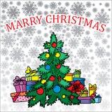 Albero di Natale su priorità bassa bianca Fotografie Stock