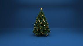 Albero di Natale su priorità bassa blu Fotografie Stock Libere da Diritti