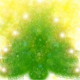 Albero di Natale su priorità bassa gialla Fotografia Stock