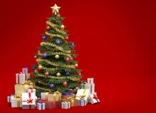Albero di Natale su priorità bassa rossa Fotografia Stock