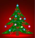 Albero di Natale su priorità bassa rossa Immagini Stock Libere da Diritti