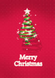 Albero di Natale su priorità bassa rossa Fotografie Stock Libere da Diritti