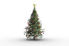 Albero di Natale su priorità bassa bianca Immagini Stock
