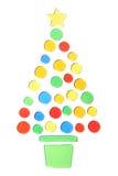 Albero di Natale su una priorità bassa bianca Fotografia Stock Libera da Diritti
