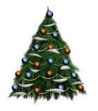 Albero di Natale su una priorità bassa bianca Fotografie Stock Libere da Diritti