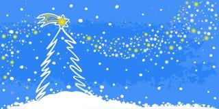 Albero di Natale su una priorità bassa blu Immagini Stock