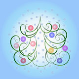 Albero di Natale su una priorità bassa blu Fotografie Stock