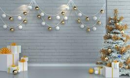Albero di Natale sul fondo bianco della parete del mattone Fotografia Stock