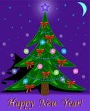 Albero di Natale sulla priorità bassa di notte Immagini Stock