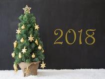 Albero di Natale, testo 2018, calcestruzzo nero Fotografie Stock Libere da Diritti