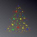 Albero di Natale variopinto fatto della scintilla su trasparente Immagini Stock Libere da Diritti
