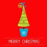 Albero di Natale in vaso. Carta di Buon Natale. Fotografie Stock
