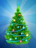 albero di Natale verde al neon 3d sopra il blu Fotografia Stock Libera da Diritti