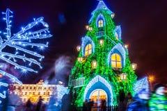 Albero di Natale a Vilnius Lituania 2015 Fotografia Stock